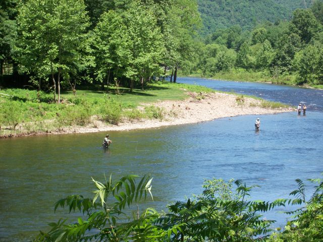 Fishermen wading in Pine Creek