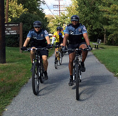 Police officers on bikes rode with some of the ECG riders along the BWI Trail (courtesy of jackbikes.org)