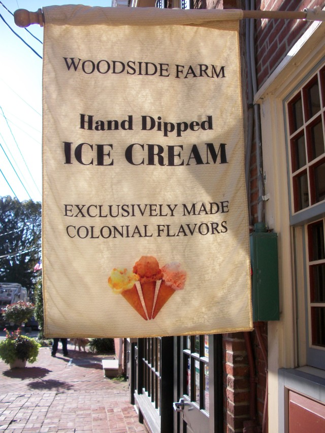 Colonial flavors at an ice-cream shop in New Castle, Delaware