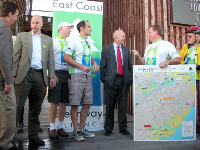 Gov. Markell and the riders from NJ