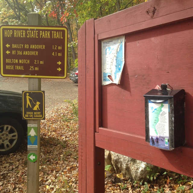 a information box for the East Coast Greenway along the trail