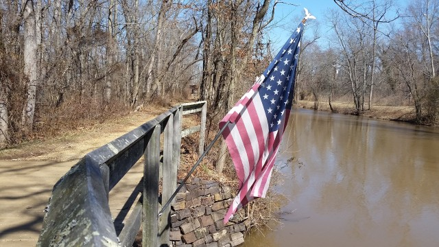 towpath and flag